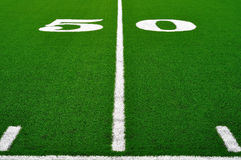 50 Yard Line on American Football Field Stock Photo