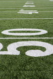 50 Yard Line On Football Field Royalty Free Stock Photography