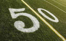50 Yard Line Football Field. Photo of a American Football field 50 yard line royalty free stock images
