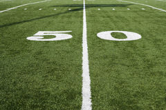 50 Yard Line On Green Field Royalty Free Stock Photos