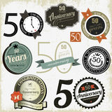50 years anniversary signs and cards  design Royalty Free Stock Photos
