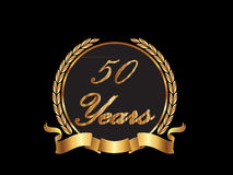 50 Years anniversary vector. 50 Years seal in gold with laurel and bow Royalty Free Stock Photos