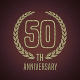 50 years anniversary vector icon, logo. Graphic design element with golden decorative branch for 50th anniversary card Stock Photo
