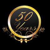 50 years gold. Gold 50th anniversary birthday celebration vector eps10 Royalty Free Stock Image