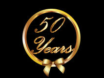 50 Years vector. Illustration of 50 years seal with bow Royalty Free Stock Image