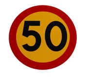 50 znak prędkości ruchu Zdjęcia Royalty Free
