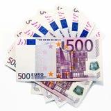500张欧洲钞票(被扇动) 库存图片