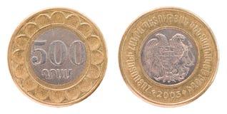 500 армянских долларов монетки стоковые изображения rf