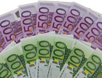 500 and 100 Euro banknotes. European money against white background Stock Image