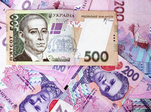 500, 200 Ukrainian hryvnia. 500 Ukrainian hryvnia, the national currency of Ukraine on the background of 200 Ukrainian hryvnias stock images