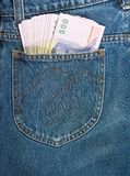 500 baht bill in jean pocket Stock Photo