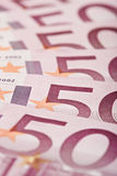 500 billetes de banco euro aventados hacia fuera Foto de archivo libre de regalías