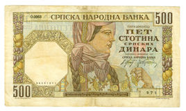 500 dinar serbia för 1941 bill Arkivfoton