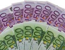 500 en 100 Euro bankbiljetten Stock Afbeelding