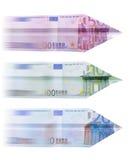 500 euro airplane. Three euro banknote planes on white Royalty Free Stock Photos