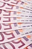 500 euro banconote smazzate fuori Fotografie Stock