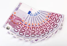 500 Euro bank notes fanned out Royalty Free Stock Photography
