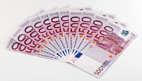 500 Euro bank notes fanned out Royalty Free Stock Photo