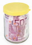 500 Euro bank notes in a glass jar Royalty Free Stock Photography