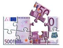 500 euro bankbiljetraadsel Stock Afbeelding