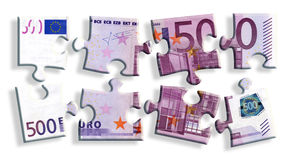 500 euro bankbiljetraadsel Royalty-vrije Stock Foto