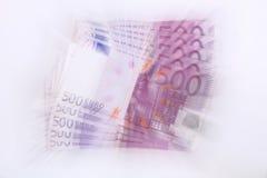 500 euro bankbiljetten (draaikolk) Stock Fotografie