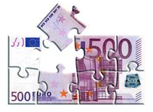 500 euro banknote puzzle stock photo