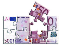 500 euro banknote puzzle. Isolated 500 euro banknote puzzle stock illustration
