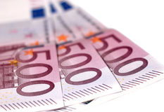 500 euro banknotes. 500 euros banknotes isolated on white Royalty Free Stock Image