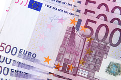 500 euro banknotes (detail). Detail of 500 euro banknotes Stock Images