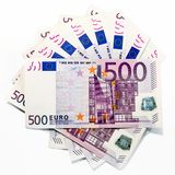 500 euro banknotes (fanned). Fanned 500 euros banknotes on white background (European Union Stock Images