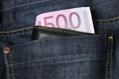 500 Euro banknotes in a jeans pocket Stock Image