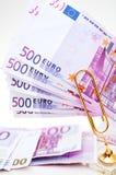 500 euro billets de banque d'argent Photos stock