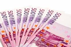 500 euro encontram-se um ventilador Fotografia de Stock Royalty Free