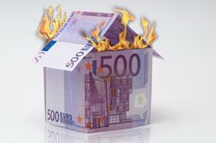 500 euro in fire Royalty Free Stock Photography