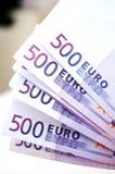 500 euro geldbankbiljetten Royalty-vrije Stock Afbeelding