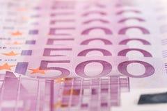 500 euro- notas Foto de Stock Royalty Free