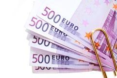 500 euro- notas de banco do dinheiro Foto de Stock Royalty Free