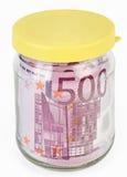 500 euro- notas de banco em um frasco de vidro Fotografia de Stock Royalty Free