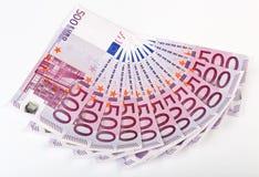 500 euro- notas de banco ventiladas para fora Fotografia de Stock Royalty Free