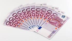 500 euro- notas de banco ventiladas para fora Foto de Stock Royalty Free