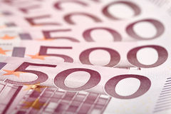 500 euro- notas de banco ventiladas para fora Fotos de Stock