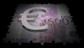 500 euro note and glass symbol. Render of 500 euro note like puzzle and glass symbol Stock Photo