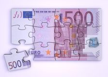 500 Euro Note Puzzle - Top View. 500 Euro note as a puzzle - one piece seperately - top view royalty free illustration