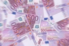 500 euro notes donnent à la tache floue radiale Photo libre de droits