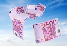 500 euros bill flying away Royalty Free Stock Image