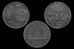 500 lire silver coins 2 Stock Photography