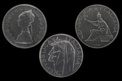 500 Lires verzilveren muntstukken Stock Foto