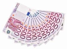 500 luftade anmärkningar för grupp euro ut Royaltyfria Foton