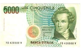 5000 liras Fotografía de archivo